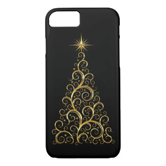iPhone 7 Case-Gold Swirls Christmas Tree iPhone 7 Case