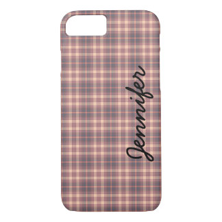 iPhone 7 Case, Gray and Pink Plaid, Personalized iPhone 8/7 Case