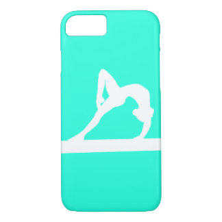 iPhone 7 case Gymnast Silhouette White on Turquois