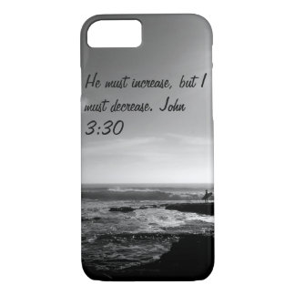 iPhone 7 case. John 3:30. Ocean. Black and white iPhone 8/7 Case