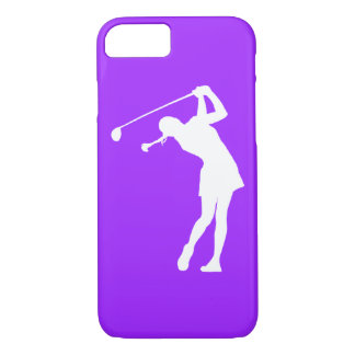 iPhone 7 case Lady Golfer Silhouette White on Purp