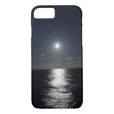 Beach Themed iPhone 7 Case Moon & Ocean Beach at Night