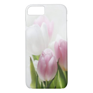iPhone 7 case- pink and white tulips- case