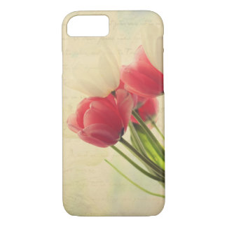 iPhone 7 case- pink and white tulips case