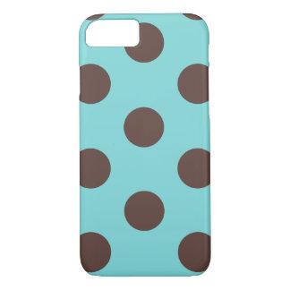 iPhone 7 Case Polka Dot Blue & Brown