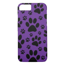 iPhone 7 case, Purple paw prints, pet, animal iPhone 7 Case