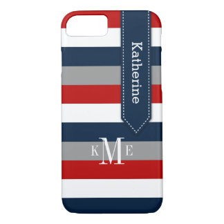 iPhone 7 Case | Stripes | Red, Gray, Navy