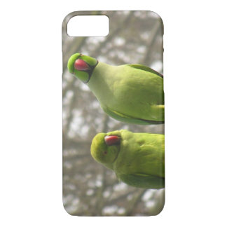 iPhone 7 case with curious parakeets