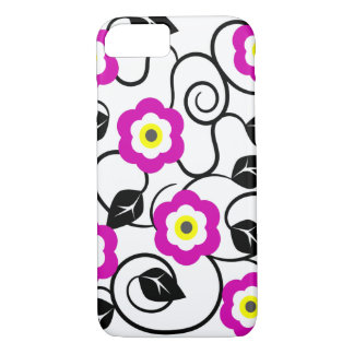 iPhone 7 Purple Flowers and Black Leaves Case