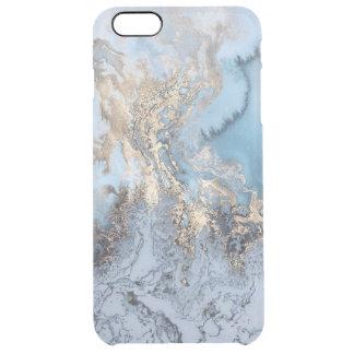 Iphone abstracto azul de oro de mármol 6/6S más el Funda Clear Para iPhone 6 Plus