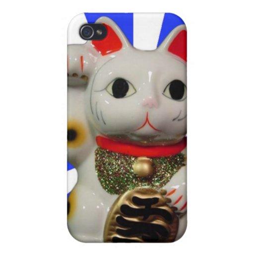 iPhone afortunado japonés del azul del gato MANEKI iPhone 4 Cárcasa