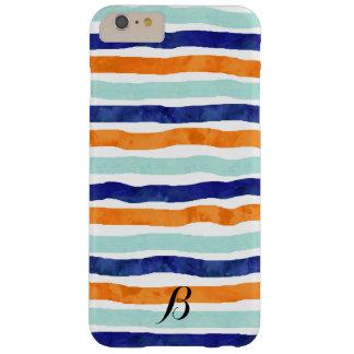 iPhone anaranjado 6/6s de las rayas azules de Funda Para iPhone 6 Plus Barely There