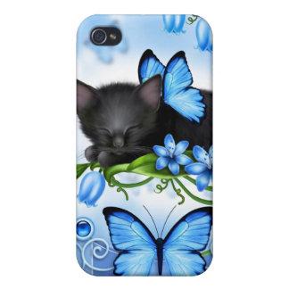 iPhone azul 4 de las mariposas del gato negro del  iPhone 4/4S Funda