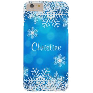 iPhone azul de los copos de nieve del navidad más Funda De iPhone 6 Plus Barely There