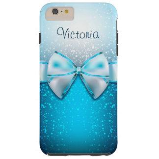 iPhone azul femenino del día de fiesta del brillo Funda Para iPhone 6 Plus Tough