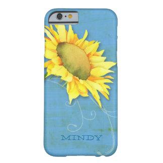 iPhone azul rústico del girasol de la acuarela 6 Funda De iPhone 6 Barely There