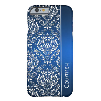 iPhone azul y blanco 6 Ca del monograma del Funda De iPhone 6 Barely There