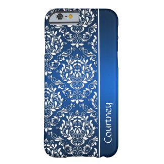 iPhone azul y blanco 6 Ca del monograma del Funda Para iPhone 6 Barely There