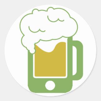 iphone-beer-mug-green classic round sticker