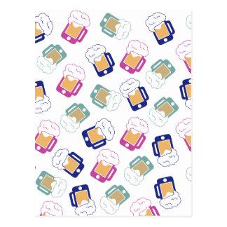 iphone-beer-mug-pattern-blue postcard