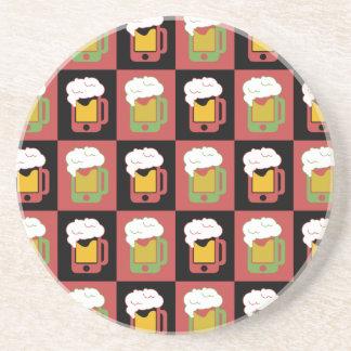 iphone-beer-mug-pattern-grid sandstone coaster