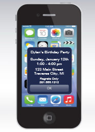 Cell phone birthday invitations announcements zazzle iphone birthday party texting smart cell phone card bookmarktalkfo Image collections