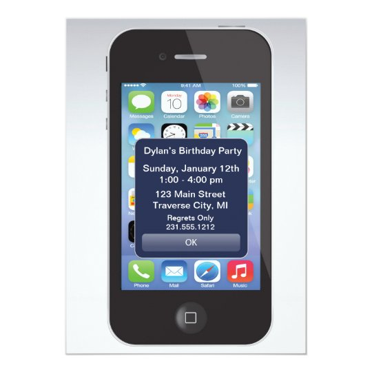 iPhone Invitations Announcements – Cell Phone Birthday Invitations