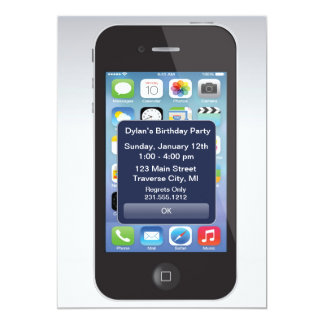 iPhone Birthday Party Texting Smart Cell Phone 5x7 Paper Invitation Card