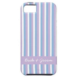 iPhone blanco 5 del boda de la lila de las rayas iPhone 5 Funda