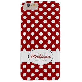 iPhone blanco rojo de moda 6 del monograma de los Funda Barely There iPhone 6 Plus