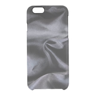 iPhone: Bright Black Silk Fabric. Magic Clear iPhone 6/6S Case