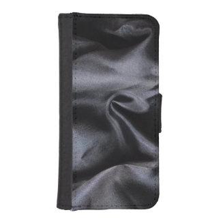 iPhone: Bright Black Silk Fabric. Magic Silk Wallet Phone Case For iPhone SE/5/5s