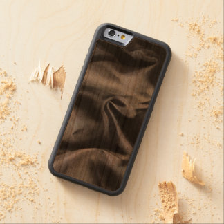 iPhone: Bright Black Silk Fabric on Wood. Magic Carved® Cherry iPhone 6 Bumper Case