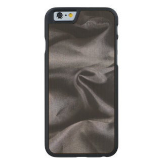 iPhone: Bright Black Silk Fabric on Wood. Magic Carved® Maple iPhone 6 Slim Case