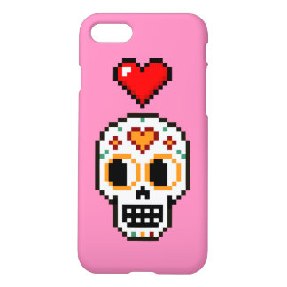 iPhone Case: 8-Bit Day of the Dead Lovergirl Skull iPhone 8/7 Case