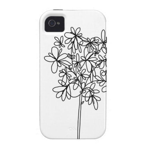 iPhone Case - Black and White Flower iPhone 4/4S Cases