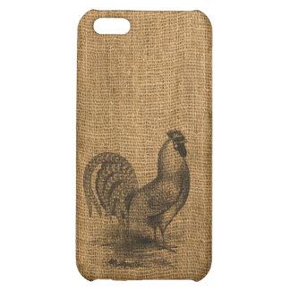 iPhone Case Rustic Burlap Rooster iPhone 5C Covers