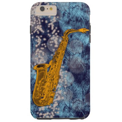 Iphone case with a funky saxophone.