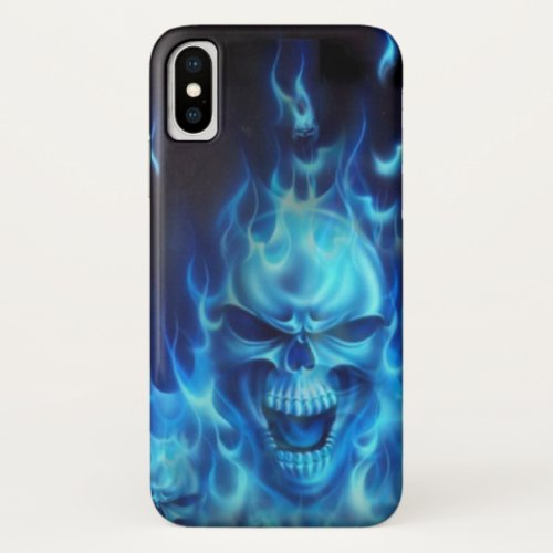 IPhone case with blue flame and skull