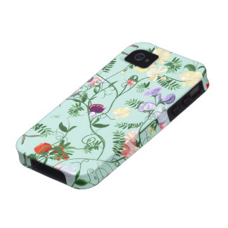 iPhone case  with decorative sweet pea flowers Vibe iPhone 4 Case
