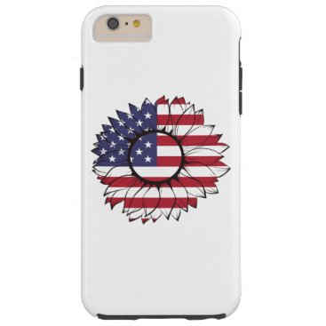 iPhone Case with USA flag sunflower, 4th of July