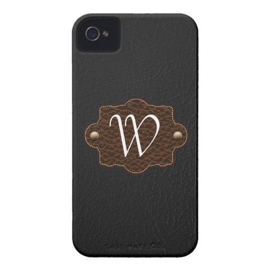 iPhone con monograma 4/4s de la mirada de cuero Carcasa Para iPhone 4