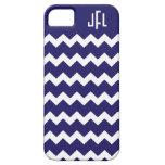 iPhone con monograma 5 de Chevron de los azules ma iPhone 5 Coberturas