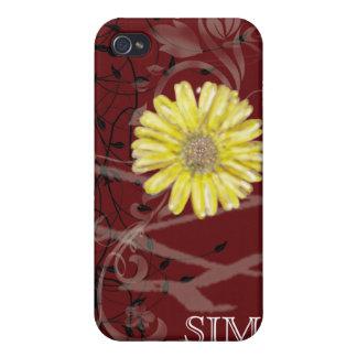 Iphone con monograma Cas de la mota de las flores  iPhone 4 Protector