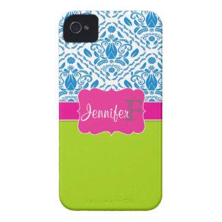 iPhone con monograma rosado, verde, azul 4/4s del  Case-Mate iPhone 4 Cárcasas