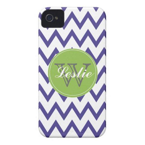 iPhone con monograma verde y púrpura 4/4s de Chevr Case-Mate iPhone 4 Cárcasas