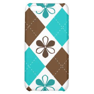iPhone Cover -Chocolate & Teal Argyle with Flowers iPhone 5C Cases