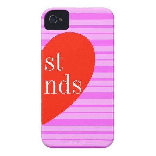 iPhone de b 4 mejores amigos rosados de la raya qu iPhone 4 Case-Mate Cárcasas