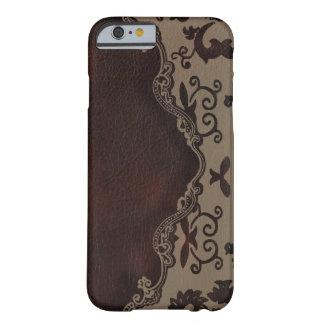 iPhone de cuero marrón de moda del damasco 6 cas Funda De iPhone 6 Barely There