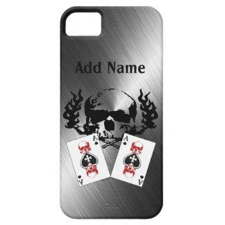 iPhone de encargo del cromo de los cráneos del pók iPhone 5 Cárcasa